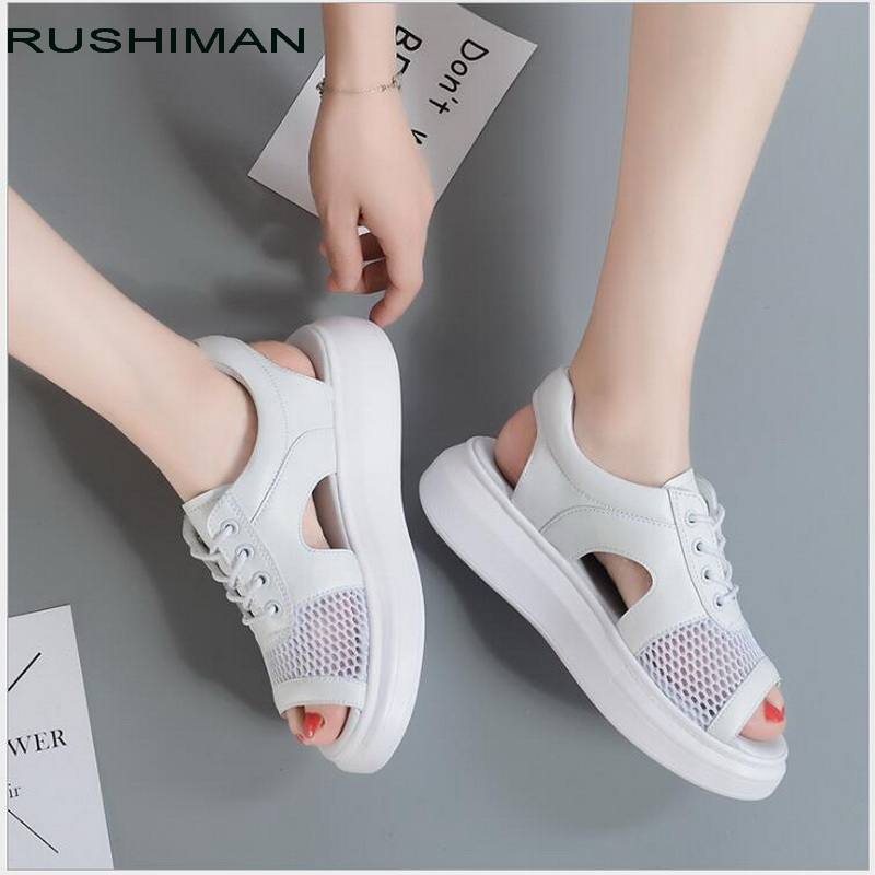 2018 Fashion Summer Swing Women's Sandals Casual Mesh Shoes Women Ladies Wedges Sandals Breathable Lace Platform Sandalias SX719 minika women sandals summer shoes breathable lace flats platform wedges lose weight creepers summer sandals cd41