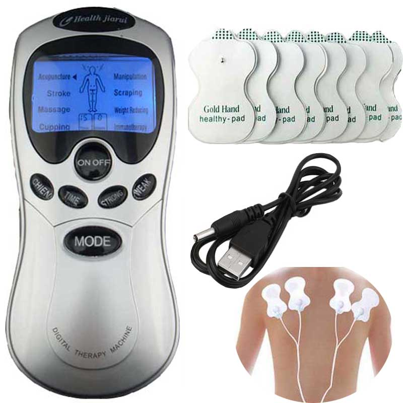 Tens Acupuncture Blue screen electronic Digital Therapy Machine Massager Four fastener Electrod wire 8 pads Health care massage digital lcd screen display acupuncture massage therapy machine orange black 3 x aaa