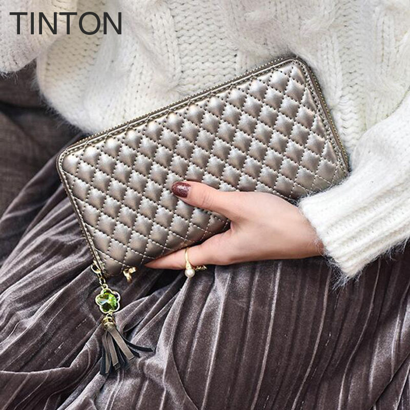 TINTON 2018 womens long wallet PU plaid tassel clutch lady simple fashion wallet Card bit Coin Purse hot sell T171209021