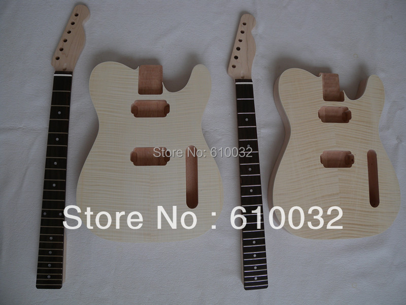 New Unfinished electric guitar body Solid wood 1 set   and one neck #1f 1set unfinished electric guitar neck set in