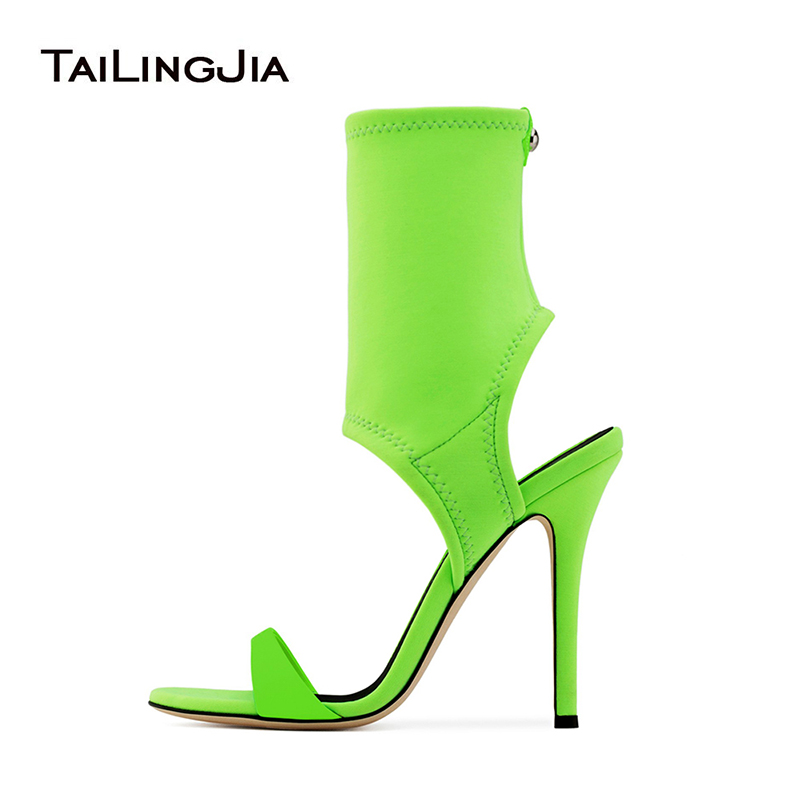 Ankle Wrap Green Stretch Sandal Boots Women Slip on High Heel Sandals Stiletto Heel Shoes Ladies Dress Heels Summer Booties 2018 wholesale lttl new spring summer high heels shoes stiletto heel flock pointed toe sandals fashion ankle straps women party shoes