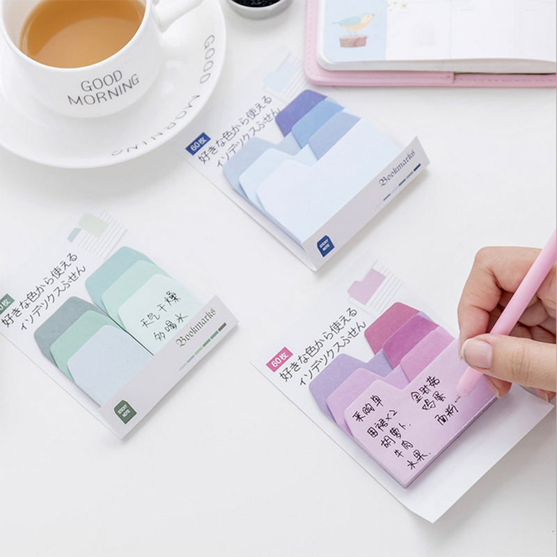 DIY Gradient Color Memo Pad Sticky Notes Cute Colorful Planner Page Index Stickers Stationery Paper Bookmark School Supplies