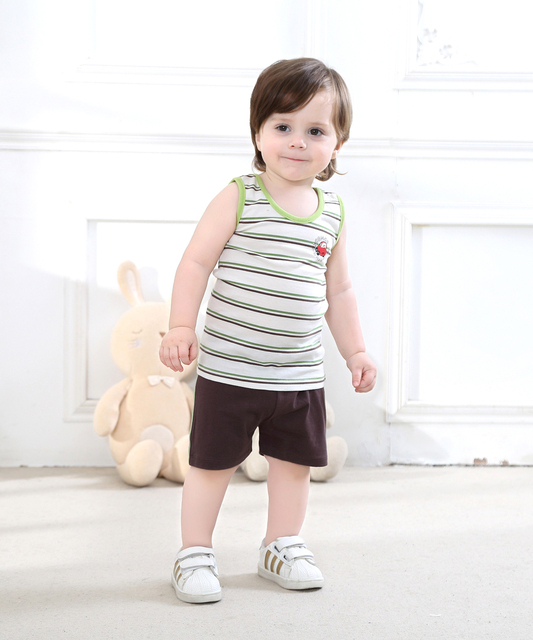 Baby Boy Clothing Set 1 3 Years Old Vest Set Shorts Casual Wear In