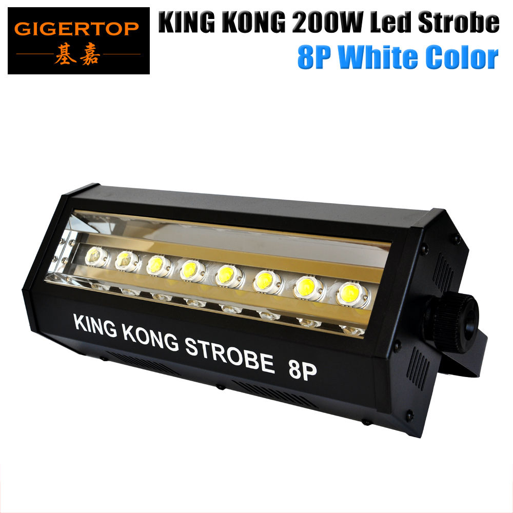 Freeshipping 200W White Color Mini King Kong Led Strobe Light 8x20W High Power Auto/Sound/DMX512/Exposure/Blinking Cycle/Strobe