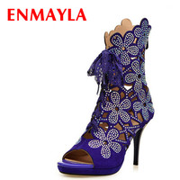 ENMAYERnew Leather Boots Women Summer Open Toed Sexy Boots Platforms Shoes Boots Female Thick Heels Ankle