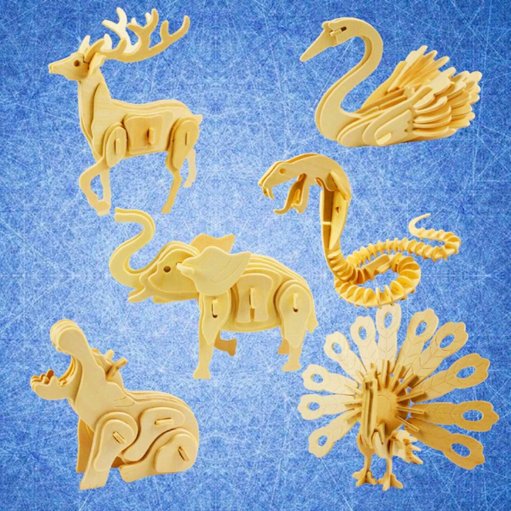 1pc 3D Puzzle Jigsaw Wooden Toys Animal Wooden Toys Learning Education Environmental Assemble Toy Educational Games For Children