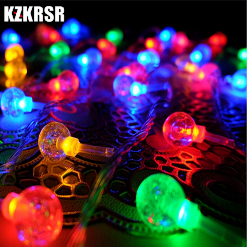 AC110V 220V 10m 20m 30m 50m Crystal Bubble Ball Led string Lights for Christmas Tree Wedding Party Garland Holiday Decoration 20 led bubble ball shaped christmas tree string lights decorated colored lamp