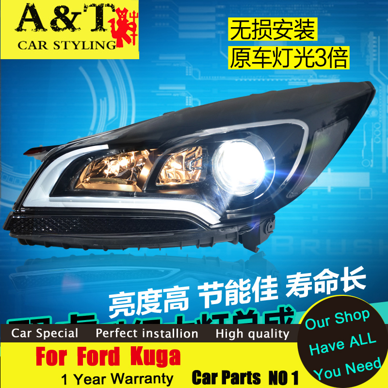 car styling For Ford Kuga Escape xenon headlights 2013-2015 For Kuga led drl bifocal lens led headlight assembly H7 HID KIT hireno headlamp for 2013 2015 nissan tiida headlight assembly led drl angel lens double beam hid xenon 2pcs