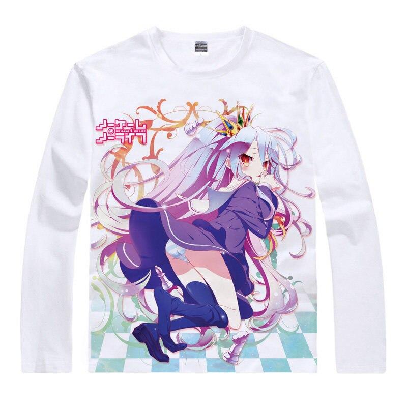 No Game No Life T-Shirt Blank Shirt colorful T shirts Anime shirt Print Womens long sleeves t-shirt Cosplay Anime cute t-shirt a