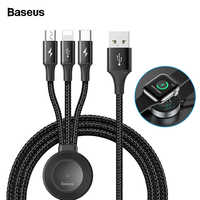 Baseus For Apple Watch iWatch 4 3 2 Qi Wireless Charger 4 in 1 USB Cable For iPhone USB Type C Micro USB Cable For Mobile Phone