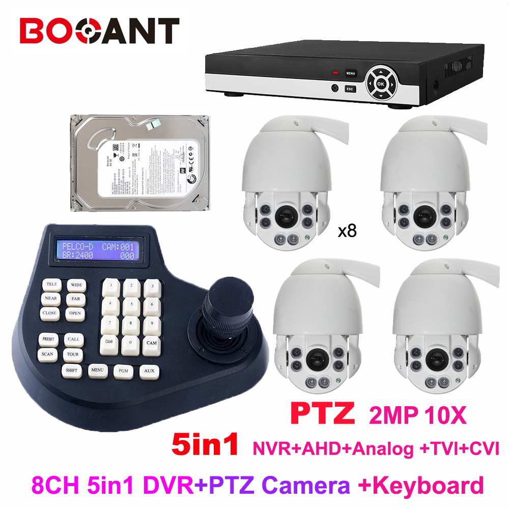 8CH 1080P 5-in-1 AHD DVR HD PTZ 2MP Middle Speed dome Camera 10x zoom IR 50m Waterproof outdoor camera with control keyboard 4 mini high speed hd 720p cvi ptz dome camera with osd meun 5 50mm 10x zoom outdoor waterproof ir 70m support cvr dvr