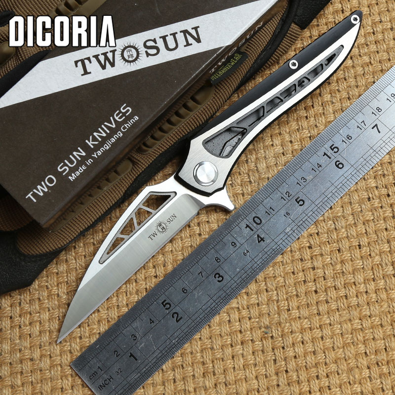 DICORIA TWO SUN TS86 D2 blade Tactical ball brearing folding knife titanium hunting Pocket knives outdoor Survival EDC Tools bmt mad flow ceramic ball bearing folding knife d2 blade titanium handle tactical knives outdoor survival pocket knife edc tools