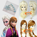 suncos High Quality Thick Queen Anna Wigs Elsa cosplay wig hair accessory anime hair Heat resistance fibre ree shipping+Cap