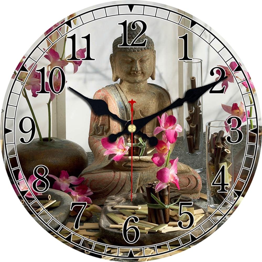 € 6.32 45% de DESCUENTO|Reloj de diseño de Buda Vintage sala de estar  silenciosa cocina casa templo decoración relojes arte de pared grandes  relojes ...