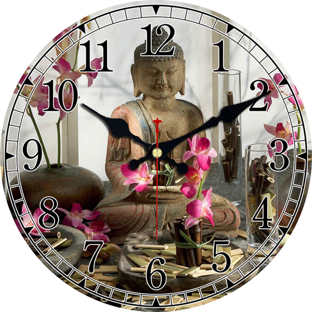Vintage Buddha Design Clock Silent Living Room Kitchen Home Temple Decor Watches Wall Art Large Wall Clocks No Ticking Sound
