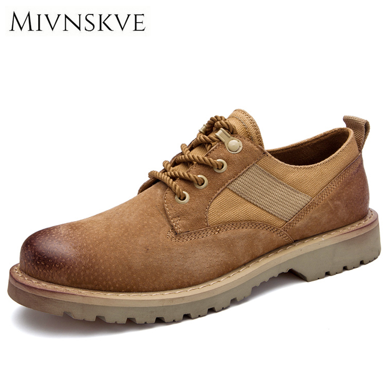 MIVNSKVE Autumn Winter Genuine Leather Casual Men Shoes Oxfords Thick Sole Vintage Classic Male Platform Footwear Mens Flats