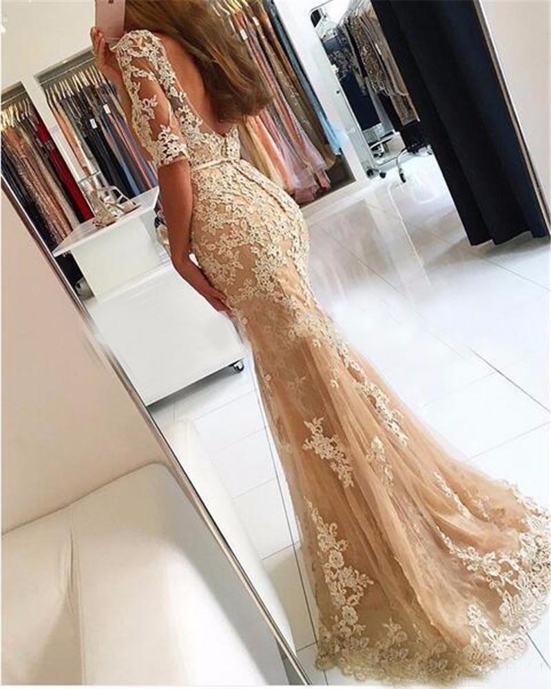 Champagne Lace Tulle Mermaid Half Sleeves Sexy Backless Dress Illusion Sheer Scoop Formal Gown Bridesmaid Dresses 1