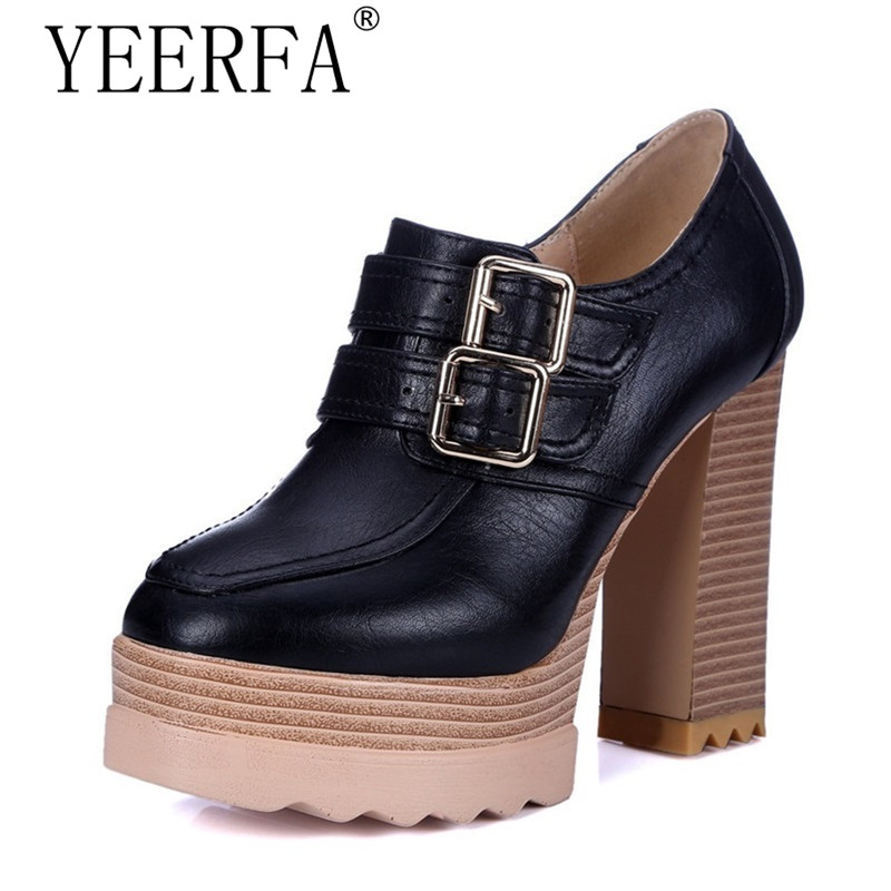 YEERFA Spring Autumn Thick High Heeled Pumps Woman Round Toe Lacing Female Platform Shoes Casual Office Lady Shoes size 35-42