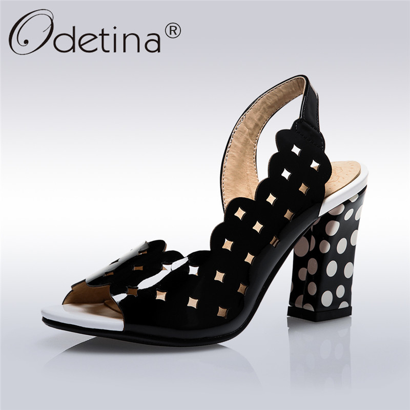 Odetina 2018 New Fashion Womens Black Strap Sandals High Heels Open Toe Shoes Hollow Out Summer Shoes Square Heel Big Size 33-43 odetina 2017 new fashion peep toe t strap sandals thick high heel platform buckle ladies square heel shoes summer big size 33 43