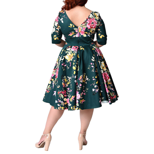 Retro Large Size 6XL 7XL 8XL Women Dress Vintage Zipper Floral Print Tunic Big Swing Dress Plus Size Dresses For Women 4XL 5XL 3