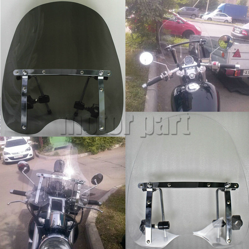 Motorcycle Large Windshield  Windscreen For 19x17 Honda Stateline Sabre 1300 Rebel 250 With 7/8 And 1 Handlebars for honda cb400 2005 2016 cb600f hornet 1998 2000 cb750 2007 motorcycle windshield windscreen pare brise black