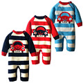 1 pc free shipping winter and autumn new Cotton Neonatal Coverall Baby Cartoon lovely Warm car stripe Romper aTLL0070