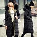 2017 Novas Mulheres Jaqueta de Inverno de Alta Qualidade Casuais Com Capuz Fino Casaco Longo Para Baixo com Gola De Pele Das Mulheres Casacos FB6092