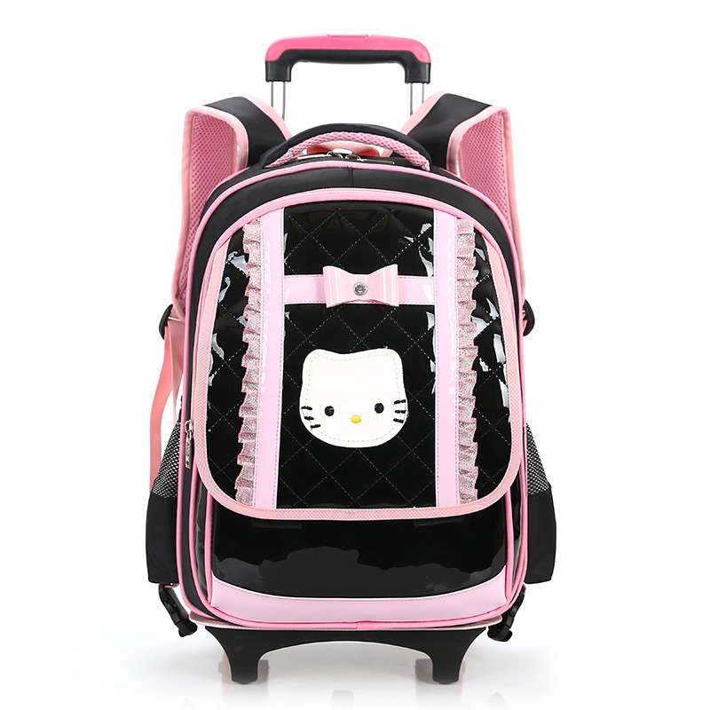 ФОТО Hello Kitty Children School Bags With Wheels For Girls Trolley School Backpacks Orthopedic Girls School Bags