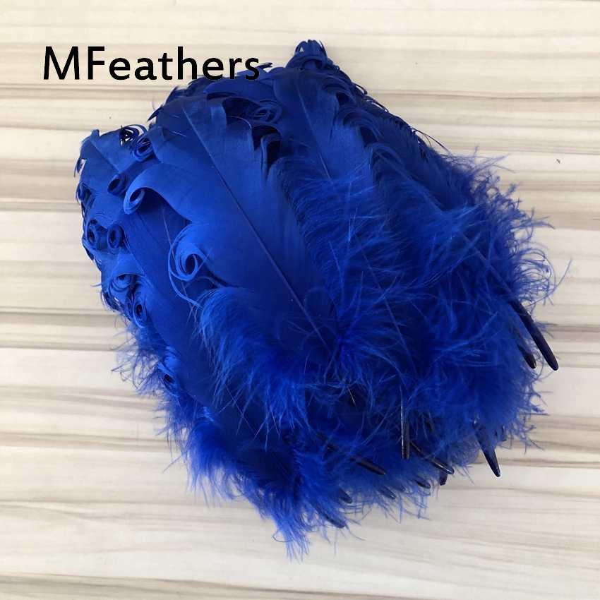 """로얄 블루 염색 곱슬 거위 깃털 13-20 cm/5-8 """"diy 공예 pluma 거위 오리 깃털 쥬얼리 모자 카니발 모자를 쓰고 있죠 데코"""