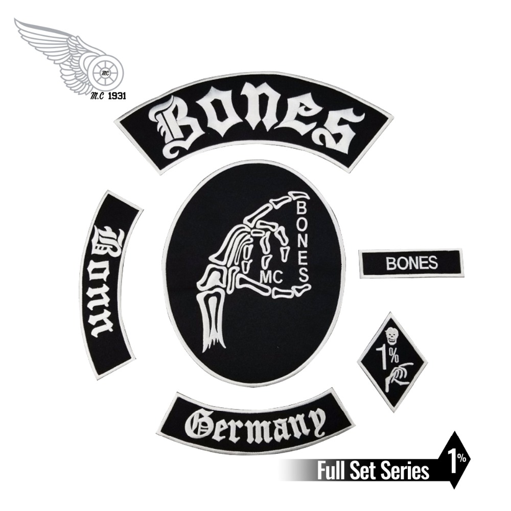 Hot Sale! Bone Skull Embroidered Patch Full Back Size for Jacket Iron On Clothing Biker Vest Patch Rocker Patch Free Shipping