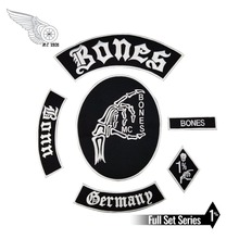 Hot Sale! Bone Skull Embroidered Patch Full Back Size for Jacket Iron On Clothing Biker Vest Patch Rocker Patch Free Shipping reapermagic 1% mc iron on patch motorcycle biker large full back size embroidery patch for jacket vest rocker custom