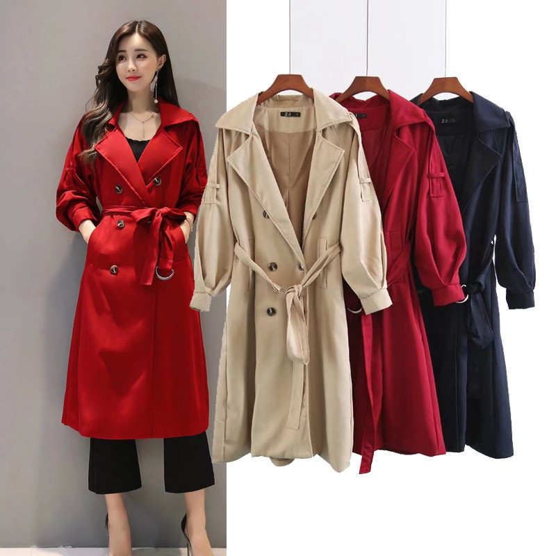 2019 Autumn New Double Breasted   Trench   Coat for Women High Quality Female Casual Windbreaker With Belt Long Business Outerwear