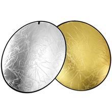 2-in-1 Gold&Silver Collapsible Light Round Photography Reflector for Studio Multi Photo Disc 24″ 60cm