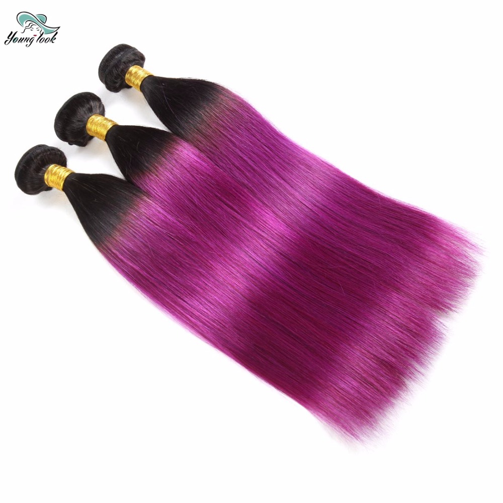 Young Look Peruvian Ombre Hair Straight 3 Bundles T1B/PURPLE Ombre Hair Bundles Hair Weave Bundles Can Buy 3 or 4 Bundles