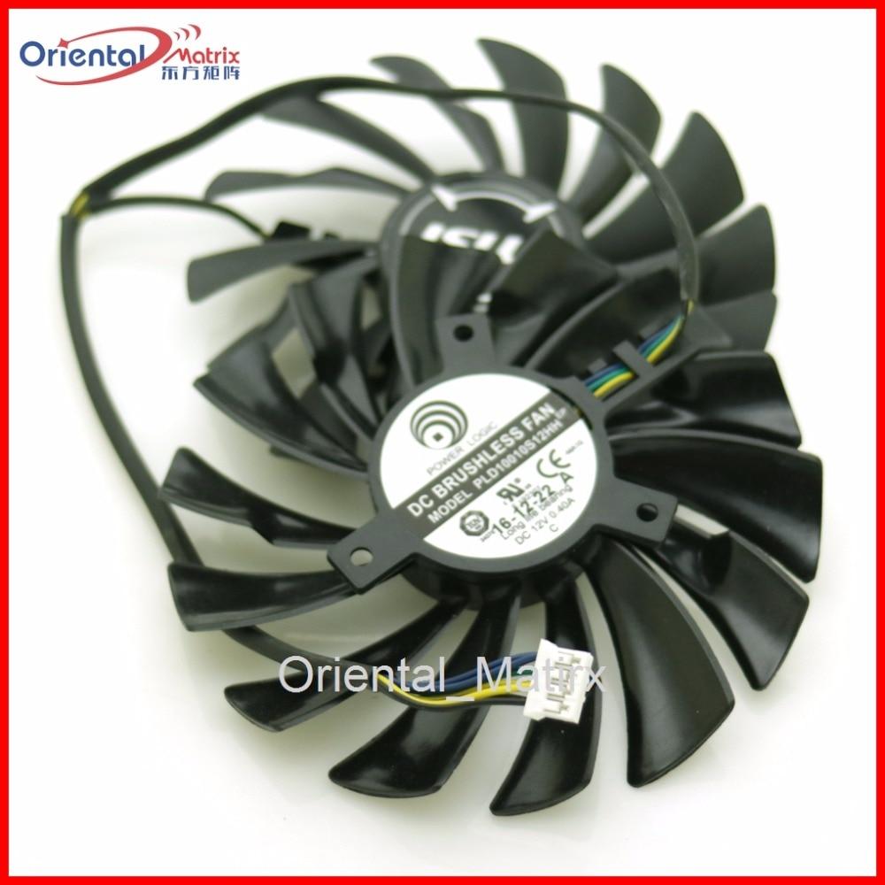 2 pçs/lote PLD10010S12HH DC12V 0.40A 95 milímetros Fã VGA 4Pin Para MSI GTX1060 GTX1070 Fã Placa Gráfica