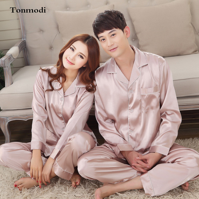 392558efd8 Couple Wedding Pajamas For Women Long-Sleeved Cardigan Lovers Sleepwear Men  Silk Satin Pyjamas Sets