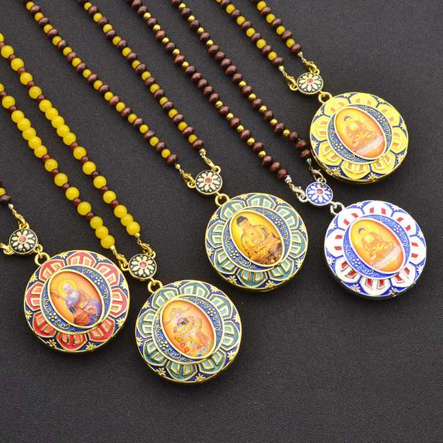Random Color Ancient Cloisonne Enamel Buddha Pendant Womens Beaded Chain Necklace