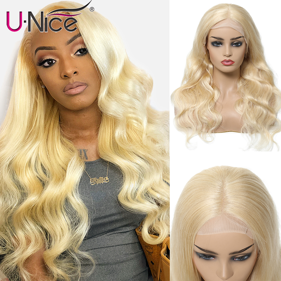 Unice Hair 13*4/6 Transparent Lace Wig 613# Lace Front Human Hair Wigs Pre-plucked Brazilian Remy Hair Body Wave Wig