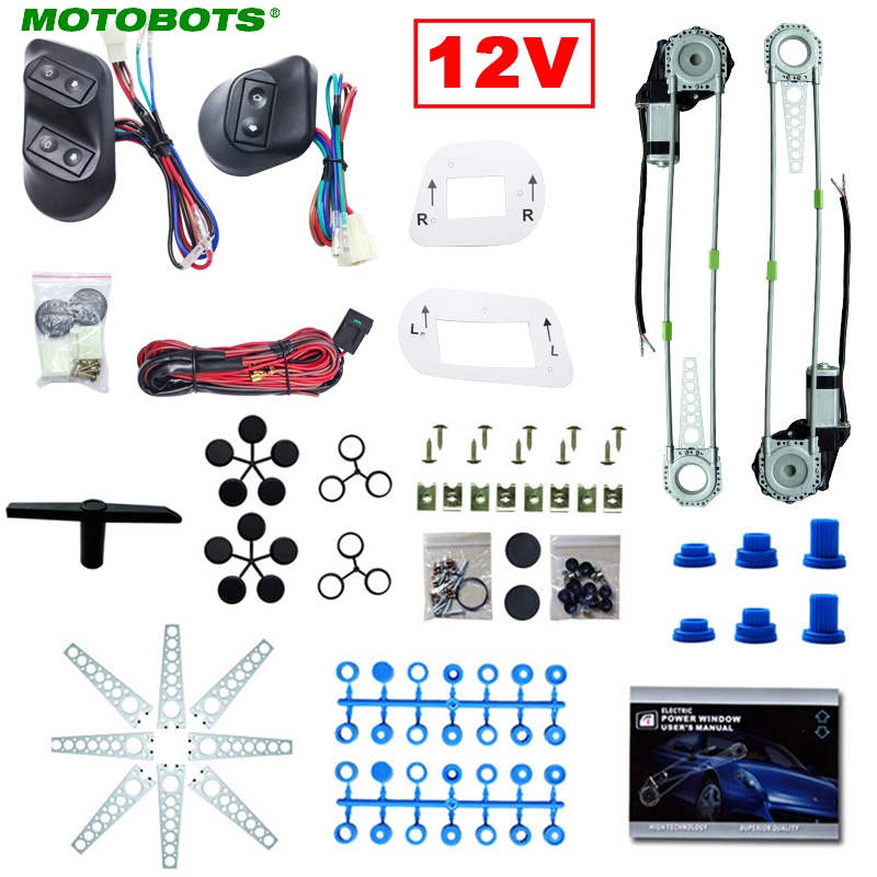 MOTOBOTS Universal Car 2-Doors Electric Power Window Kits With 3pcs Switches & Wire Harness DC12V #HQ3781