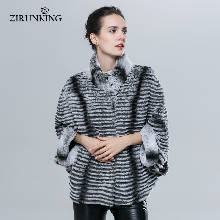 ZIRUNKING Natural Rex Rabbit Fur Jacet Fashion Slim Women Real Fur Coat Lady Bat Sleeve Jacket Chinchilla Color Clothes ZC1620