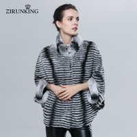 ZIRUNKING Natural Rex Rabbit Fur Jacet Fashion Slim Women Real Fur Coat Lady Bat Sleeve Jacket Chinchilla Color Clothes ZC1620