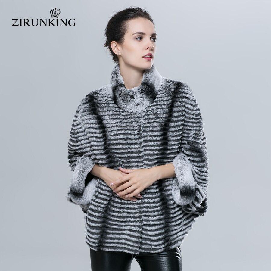 ZIRUNKING naturel Rex lapin fourrure Jacet mode Slim femmes réel fourrure manteau dame chauve-souris manches veste Chinchilla couleur vêtements ZC1620