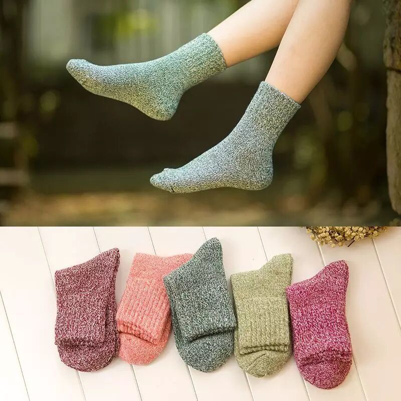 Winter Thermal Thick Socks  Comfortable Female Solid Casual   1