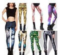 New Hot Promotions knitted Spandex leggings Black Milk Galaxy Print fitness leggings women pants mid ankle length Free Shipping