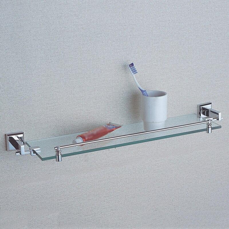 Beautiful Single Glass Shelf Polished Chrome Wall Mounted Antique Home Decor Bathroom  Shampoo Shelves For Shower Brass