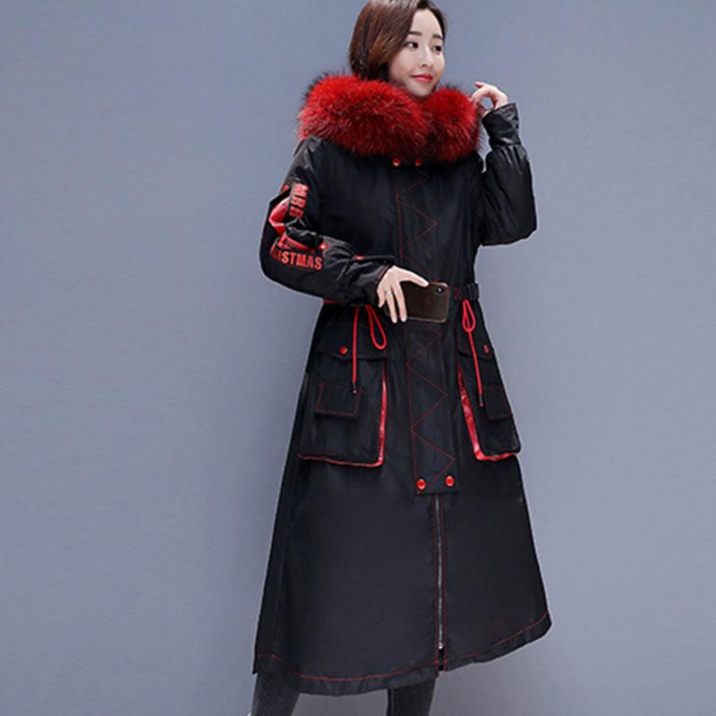 Taille 838 2019 À Capuchon Mode D'hiver Le De La Hiver Bas Parka Grand Vers Nouvelles Vêtements Chaud Fourrure Blue Col red Veste Plus Long Femmes Manteau XgwXqF