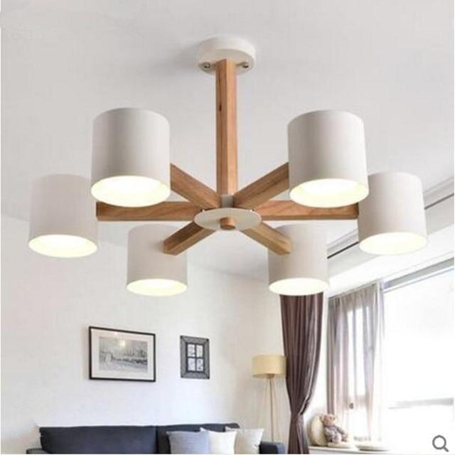 Modern Lamps Wooden Ceiling Lights Indoor Lighting Iron Lampshades Living Dining Room Bedroom Bar Light Fixture