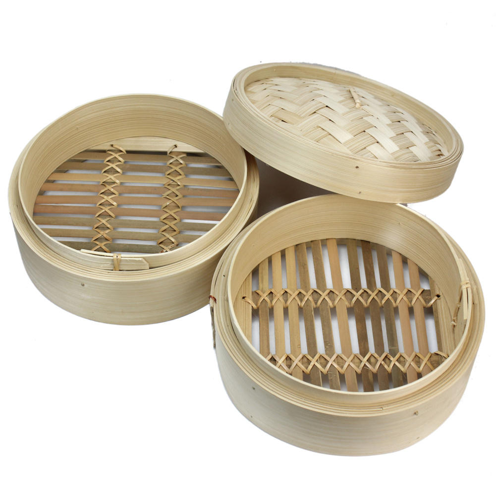2 Tier Bamboo Steamer(with 2 Steaming Baskets And 1 Lid) Kitchen Cookware For Cooking Fish Rise Pasta Vegetables Dim Sum