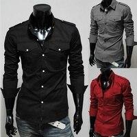 Men Shirt Long Sleeve 2016 Brand Shirts Men Casual Male Slim Fit Double Pocket Decoration Chemise