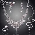 Ymengz balançando pingente conjuntos de jóias de prata banhado colar pulseira brinco anel de cristal nupcial conjuntos de jóias de casamento para as mulheres